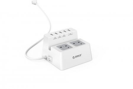 ORICO ODC-2A5U 5 Ports 5V Super Charger USB 2x AC Socket Desktop Charging Station with ON/OFF Switcher - White