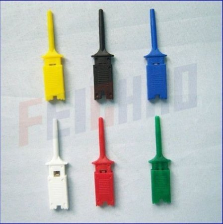 6pcs 6 colors small Test Hook Clip Grabber Single Probe for PCB SMD IC