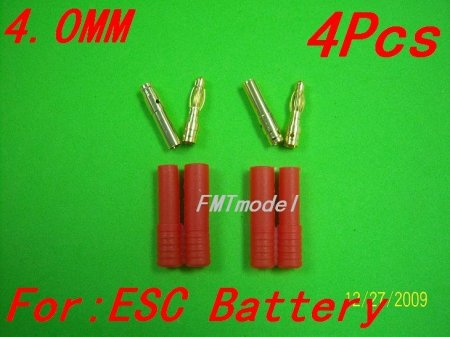 4.0mm banana plug with housing cover For Rc Helicopter ESC Battery