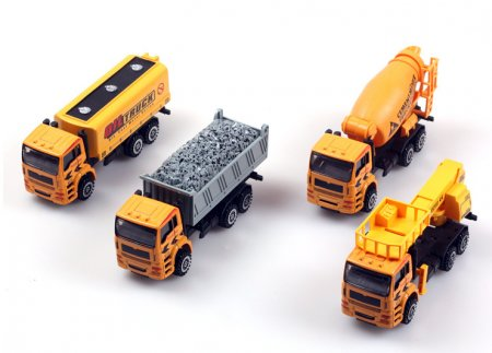 1:50 4 in 1 Alloy Construction Vehicles Set Pull Back Car Truck Model Kids Toys