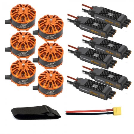 DIY 6-axis Aircraft Hexcopter Motor Combo 6pcs 3508 380kv Motor + 6pcs Hobbywing XRotor Pro 40A ESC + XT60 Connector+Fastening Tape