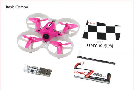 Kingkong LDARC Tiny 7X RTF Mini FPV Racing Drone Quadcopter 75mm Frame 820 Brush Motor 450mAh 3.8V 50C Lipo Battery
