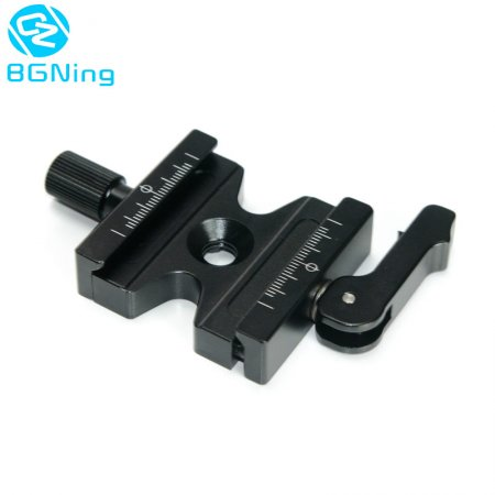 BGNING Aluminum CNC Double Lock 3/8  Quick Release Clamp w/ Adjustable Lever Knob for Arca Swiss RRS Wimberley Tripod Ball Head