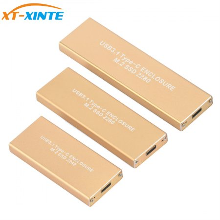 Metal Case USB3.1 Type-C Port Mobile M.2 NGFF B Key SSD Enclosure Case Adapter Box for M.2 NGFF B Key SSD  2242 2260 2280