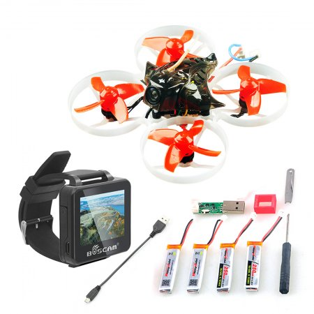 Happymodel Mobula7 V2 75mm Crazybee F3 Pro OSD 2S Whoop FPV Racing Drone w/ 700TVL Camera BNF with BOSCAM BOS200RC FPV Watch ​
