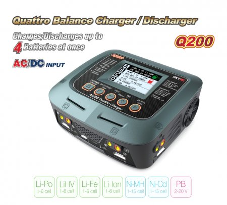 SKYRC Q200 1 to 4 Intelligent Charger/Discharger AC/DC Drone Balance Charger for Lipo/LiHV/Lithium-iron/Ion/NiMH/NiCD/Lead-acid battery