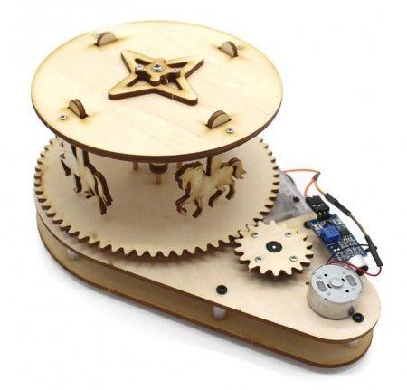 Physical Science Toy Creative DIY Merry-Go-Round Kids Voice Control Electric Motor Experiment Educational Wood Assembly Material