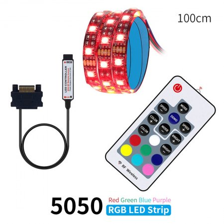 DC 12V Sata Cable LED Strip Flexible Light 5050 RGB SMD + RF Remote Controller for PC Computer Case Decoration 50/100/150/200cm