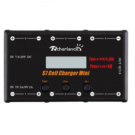 RCHARLANCE S7 CELL CHARGER MINI 1S Battery Charger 6x4.35W LiPO/LiHV Battery Charger With Micro MX mCPX For RC Drone Aircraft
