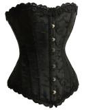 A1221-1 Black Satin Lace Up Corset