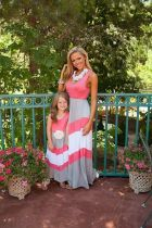 Cotton Mother and Daughter Maxi Crewneck Dress Women Girls Boho Beach Dresses