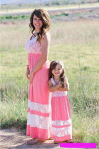 2017 Family Style Mother and Daughter Matching Clothes Long Boho Beach Dresses