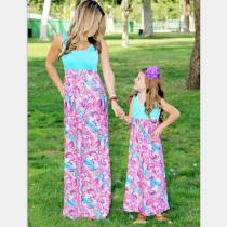 Casual Mother and Daughter Boho Stripe Maxi Dress Mom Kids Matching Outfits Set