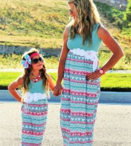 Daughter Mother And Dress Matching Casual Stripe Family Girls Clothes Outfits