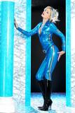 zt9511 sexy ladies blue rubber catsuit