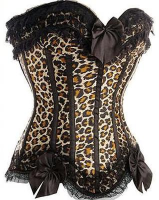 A6168 Burlesque Leopard Zipper Corset