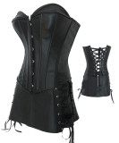 LAK28-1black luxurious leather corset with skirt