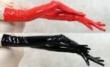 LKH1053 long leather gloves red black