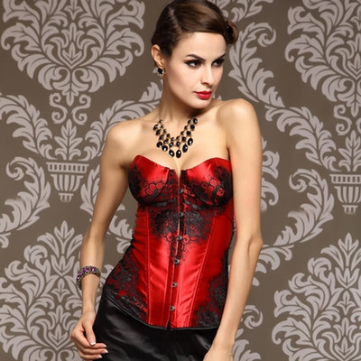 LY1204RED Lace up boned Corset Bustier