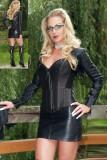 11030 sexy black boned faux leather dress