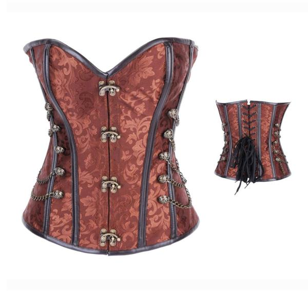 AM2837-3 Brocade Steampunk Corset with Chains Full Steel Boned