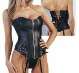 K26 Faux Leather Lace-Up Corset