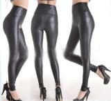 Y1055-1 Fashion Deep Black Faux Leather Leggings