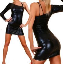 pvc4438 one slim strap shoulder wetlook mini dress