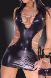 pvc4442 open bra sexy club dress with chain