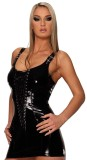 pvc4453 Lace up sexy black club dress