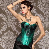 LY1204-Green Lace up boned Corset Bustie