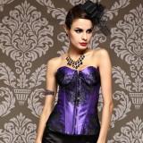 LYA1204-Purple Lace up boned Corset