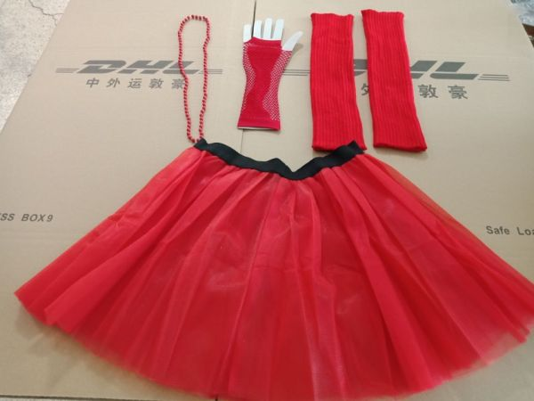 1980s neon costume tutu skirt leg warmer fishnet gloves set