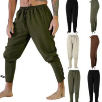 Men Halloween Medieval Renaissance Loose Pants Viking Black Brown Navigator Leg Bandage Trouser