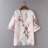 D2008 Women Floral Print Chiffon Loose Shawl Kimono Cardigan Top