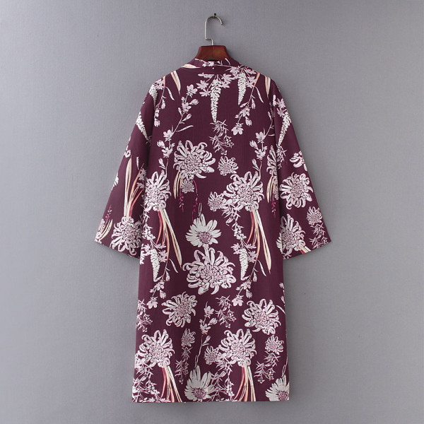 8638 Women's Loose Blouse Summer Boho Chiffon Shawl Kimono
