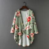 8675 Women Floral Print Chiffon Loose Shawl Kimono