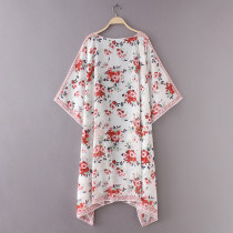 D2026  Summer Sunproof Cardigan Fashion Women printing Chiffon Bikini Cover Up