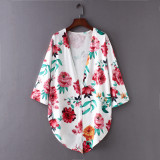 8668 Flower Women Shawl Kimono Beach Cardigan