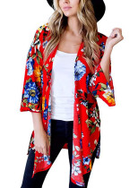 8669 Floral Women Cardigan Chiffon Blouse Tops