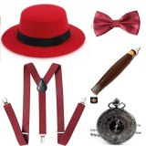 Ecoparty 1920s Mens Gatsby Gangster Accessories Set Panama Hat Suspender Bow Tie 1920s mens accessories set