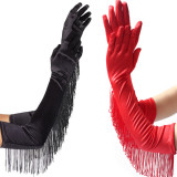 3 Colors Fashion Black White Red Tassels Long Satin Gloves Women Opera Evening Party Costume Gloves Dance Performance Mittens