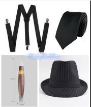 Mens 20s 1920s Gangster Set Hat Braces Tie Cigar Gatsby Costume disfraz mujer Accessories fantasias adulto men
