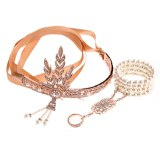 1920s Great Gatsby Party Costume Accessories Set 20s Flapper Art Deco Headband Pearl Bracelet Ring Hand Accessories  2 Pcs Set