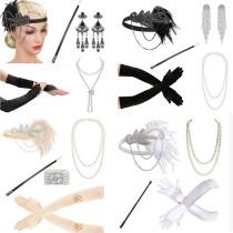 white  1920's Headband Flapper Charleston costume accessories pink Headpiece Great Gatsby feather headband