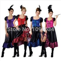 Saloon Girl Burlesque Can Can Cowboy Fancy Dress Ladies Western Costume 4 colors S-5XL