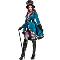 Alice in Wonderland Sexy Mad Hatter Costumes Women Halloween Party Outfit Fancy Dress