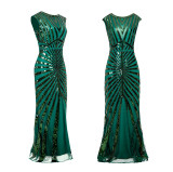 Long 20s Flapper Dress Vintage O Neck Sleeveless Backless Maxi Party Dress for Prom Cocktail