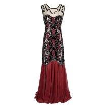 1920s Series Women's Vintage Lotus Leaf Sequined Fringed Sleeveless Dress  Beaded Dress vestido de festa