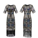 Great Gatsby Dress 1920s Vintage Flapper Sequined Embellished Fringed Dress Sleeve Midi Party Art Deco Double Lady Summer dress